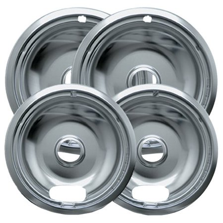 Range Kleen 4 Piece Drip Bowl  Style A Fits Plug In Electric Ranges Amana  Crosley  Frigidaire  Kenmore   Maytag  Whirlpool  Chrome