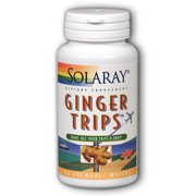 Solaray Ginger Trips Travel Aid | Root Extract | Healthy Digestive Support w/ Honey, Stevia & Molasses | 60 Chewables