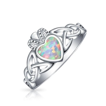 Celtic Claddagh Bracelet - BFF Celtic Irish Friendship Couples Promise Bezel Created Opal Claddagh Ring For Women For Girlfriend October Birthstone