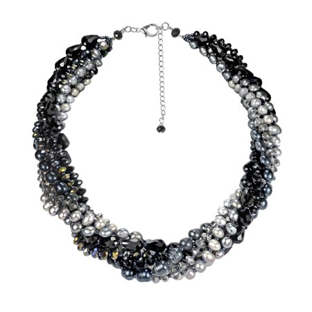 Twilight Intertwined Pearl and Crystal Multistrand -