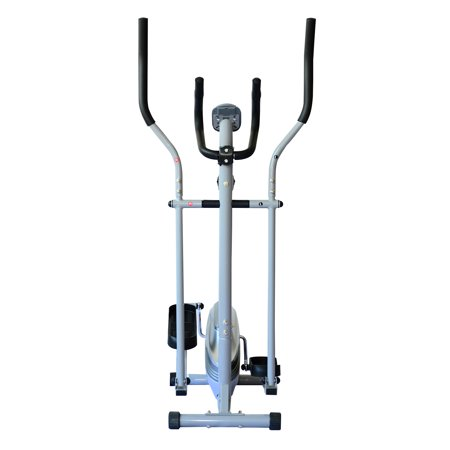 Soozier 2 in 1 Elliptical Cross Trainer Machine w/LCD Monitor - Silver