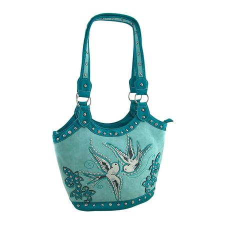 Zeckos - Rockabilly Flying Birds Western Style Rhinestone Shoulder Bag - Turquoise - Size - Western Style Purse