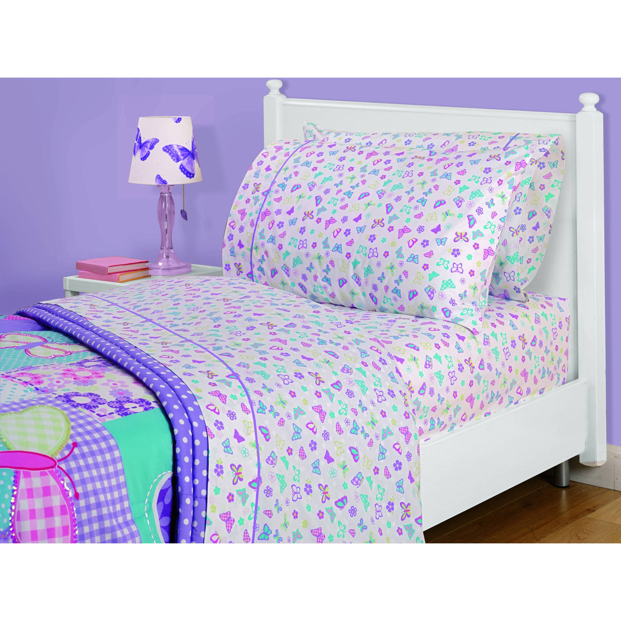 Mainstays American Kids Butterfly Patches 3-Piece Sheet Set, Twin