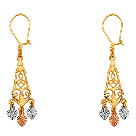 Heart Chandelier Earrings 14k Yellow White Rose Gold Filigree Diamond Cut Fancy Tri Color 30 x 7 mm ()