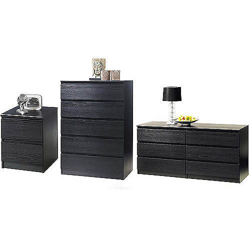 Laguna Double Dresser, 5 Drawer Chest And Nightstand Set, Black Woodgrain  Image 2