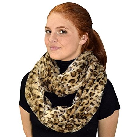 Peach Couture Faux fur Leopard Zebra Print Plush Cowl Collar Infinity Loop Scarf