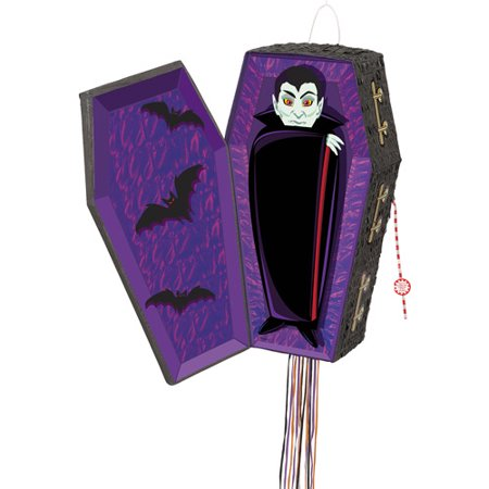 Vampire Coffin Halloween Pinata, Pull String, 25 x 13 in, 1ct - Pinata Halloween