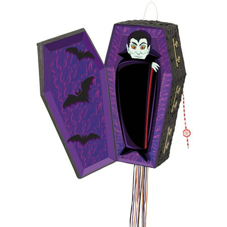 Vampire Coffin Halloween Pinata, Pull String, 25 x 13 in, 1ct - Diy Pinata Halloween