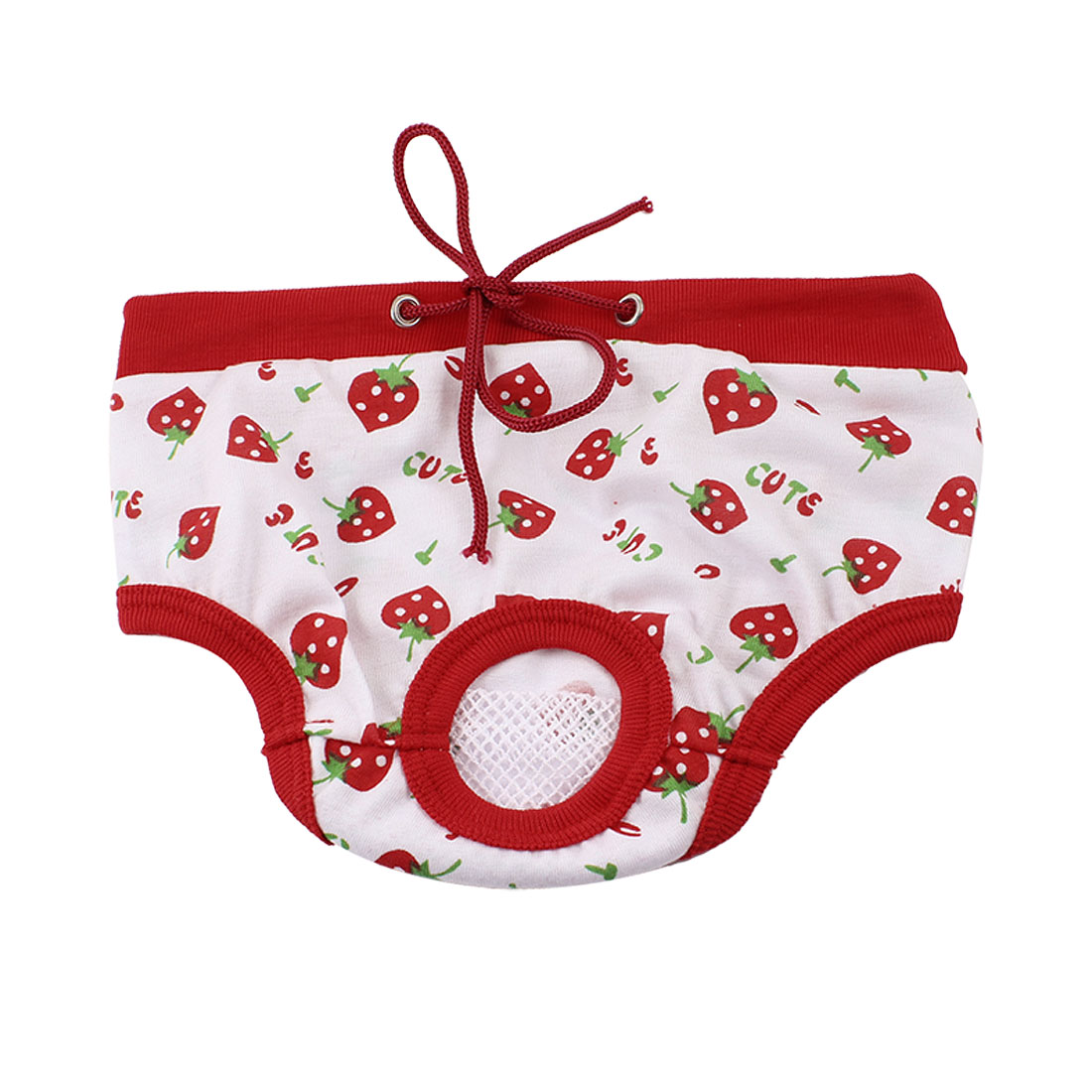 Pet Dog Doggy Strawberry Printed Adjustable Waist Diaper Pants Red White L