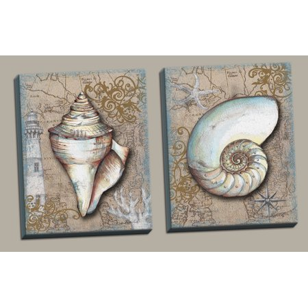 2 Brown Seashell Art Print Posters Lighthouse Ocean Sea Pirate Treasure Map, Set of Two 11x14 Hand-Stretched Canvases Ready to hang on your wall!