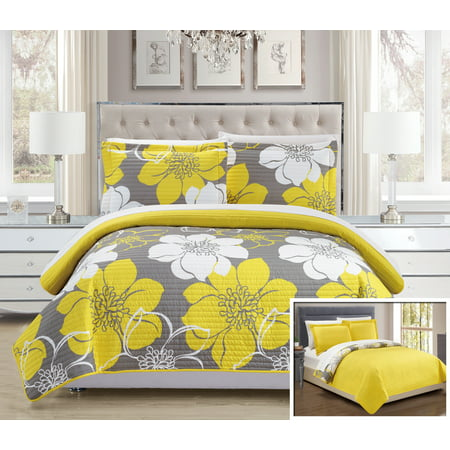 English Floral Quilt (Chic Home 3-Piece Chase Abstract Large Scale Floral Printed King Quilt Set Yellow with 2 Shams )