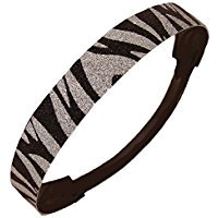 Glitter Headband Girls Headband Sparkly Hair Head Band Black and Silver Zebra - Zebra Headband