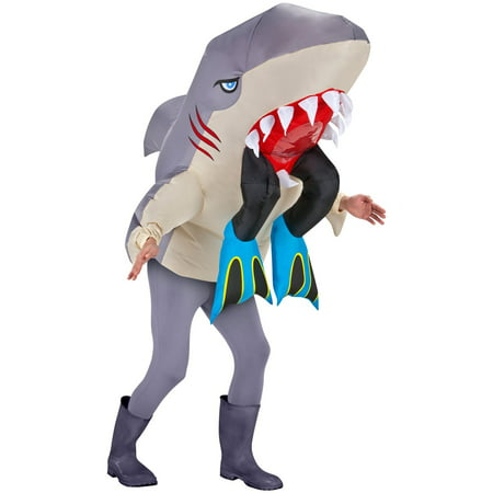Inflatable Shark Head with Legs Adult Costume - - Shark Eating Person Costume
