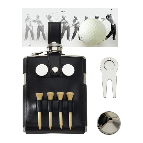 Creative Gifts International 6 Oz. Stainless Steel Golf Flask with Golf Case