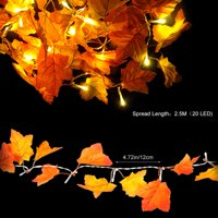 Sonew Fall Maple Leaf Garland 20 LED Decorative Lights Maple Leaves Fairy Lights 8.2 Feet for Party Holiday Thanksgiving Decor