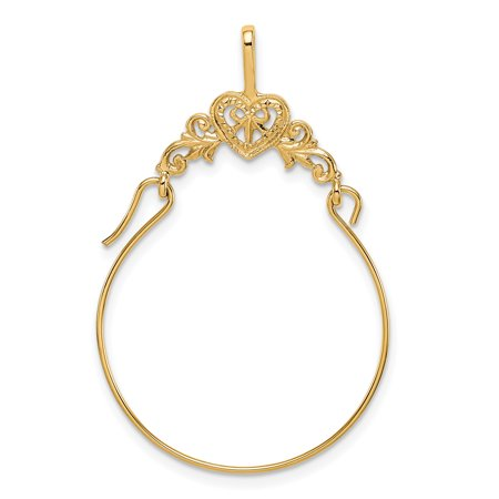 14kt Yellow Gold Filigree Heart Pendant Charm Necklace Holder Fine Jewelry Ideal Gifts For Women Gift Set From Heart