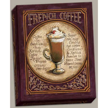Canvas French Coffee Classy Beer Ad Durable Sign Recipe Drink Painting Bar Alcohol Cheap Retro 16x20 (Halloween Drink Recipes Alcohol)