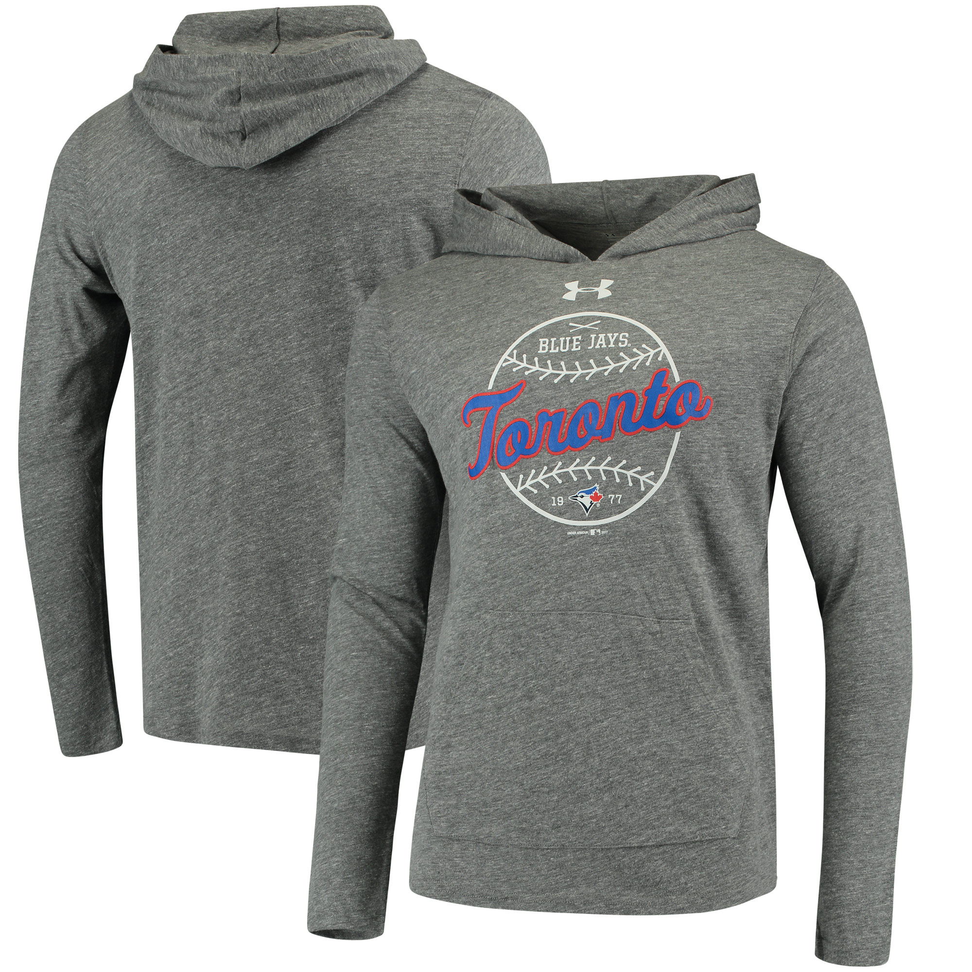 Toronto Blue Jays Under Armour Tri-Blend Pullover Hoodie - Heathered Gray