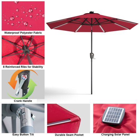 Gymax 9 FT Patio Waterproof Solar Umbrella LED Light Tilt Red - image 1 of 10