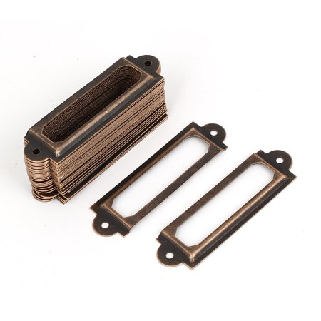 Unique Bargains Drawer Cabinet Antique Style Metal Label Pull Holder Frame Copper Tone