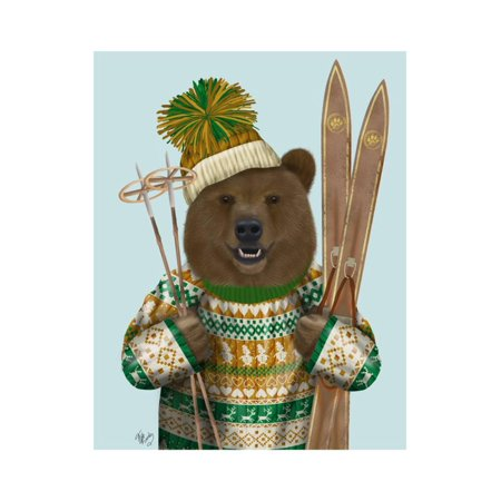 1c7a924555b Bear in Christmas Sweater Print Wall Art By Fab Funky - Walmart.com