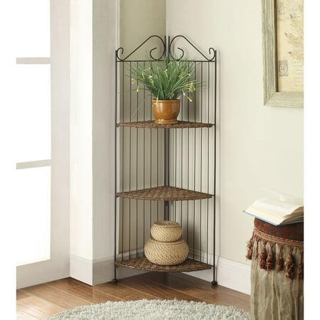 4D Concepts Farmington 3 Tier Folding Corner Maize Weave/Black Iron Shelf Corner Bookcase