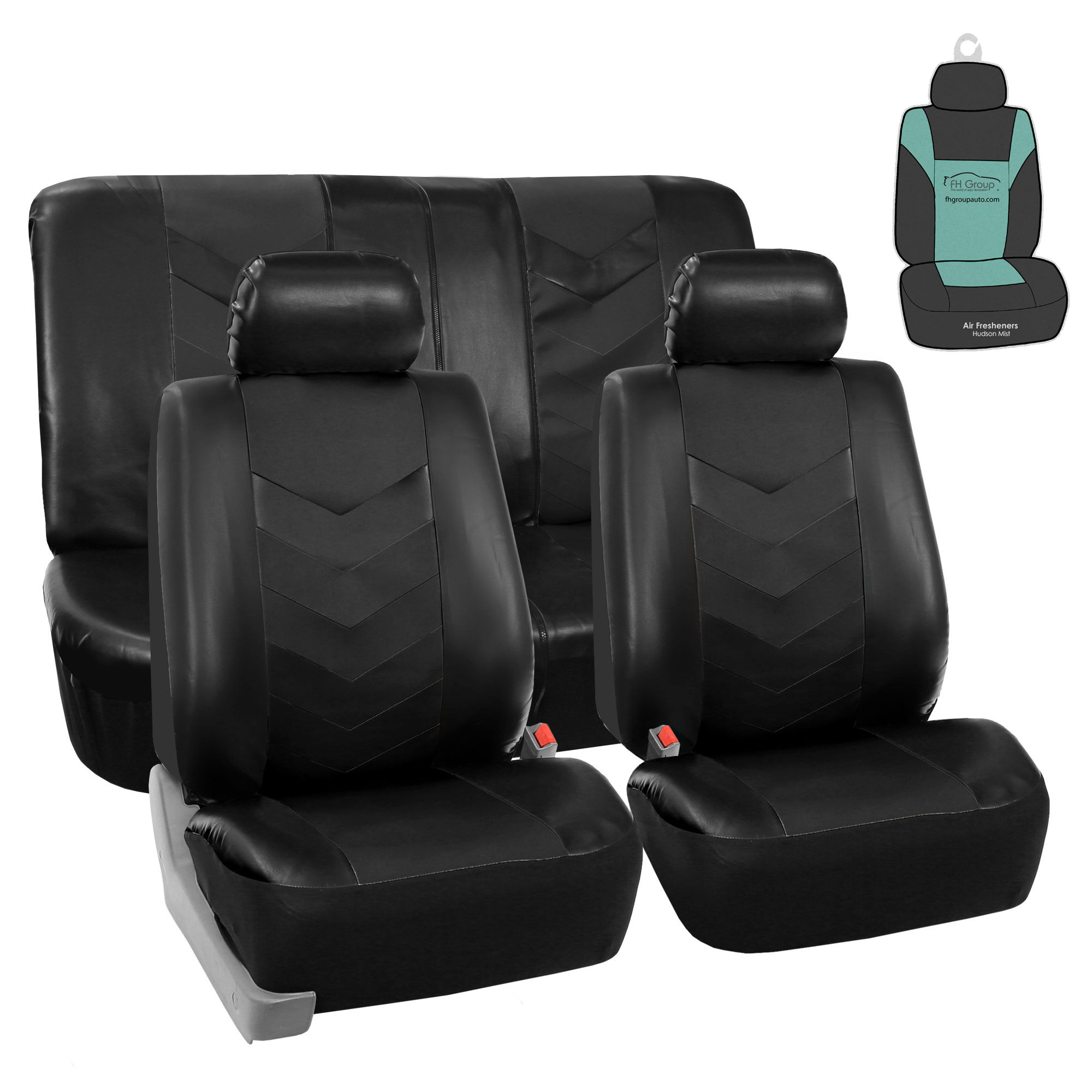 FH Gorup PU Leather Seat Covers For Auto Car SUV Solid Black w/ Accessories / Free Gift