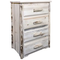 Montana Collection 4 Drawer Chest of Drawers, Clear Lacquer Finish