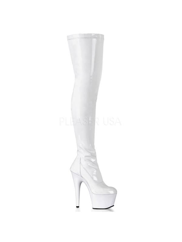 ADO3000/W/M Pleaser Platforms (Exotic Dancing) Thigh High Boots WHITE Size: 12