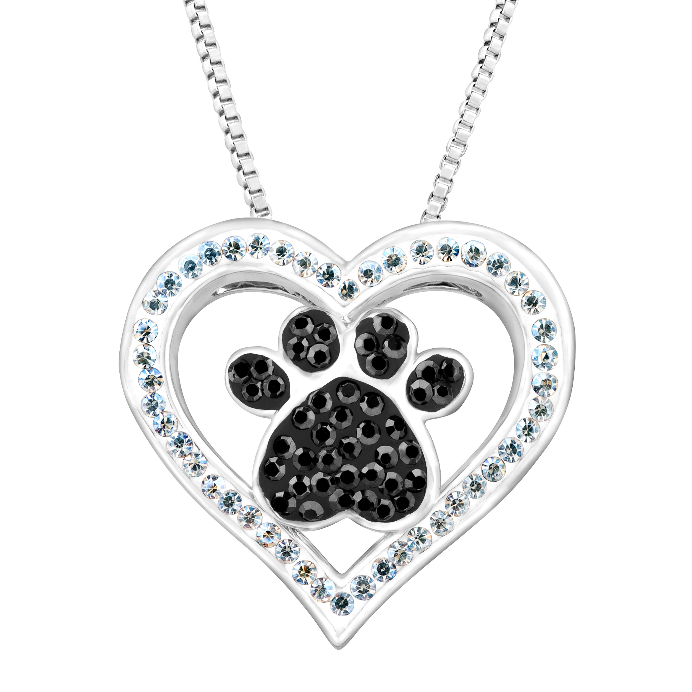 Crystaluxe Paw & Heart Pendant Necklace with Swarovski Crystals in Sterling Silver-Plated Brass