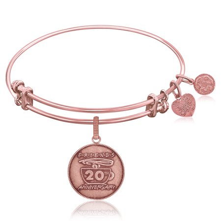 20th Anniversary Plate - Rose Gold-Plated Pink Brass Expandable Bangle with