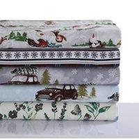 Comfy Stripe 170-GSM Cotton Flannel Printed Extra Deep Pocket Sheet Set