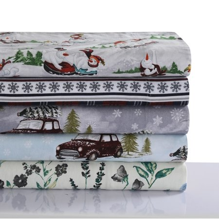 Comfy Stripe 170-GSM Cotton Flannel Printed Extra Deep Pocket Sheet Set Stripe Flannel Flat Sheet