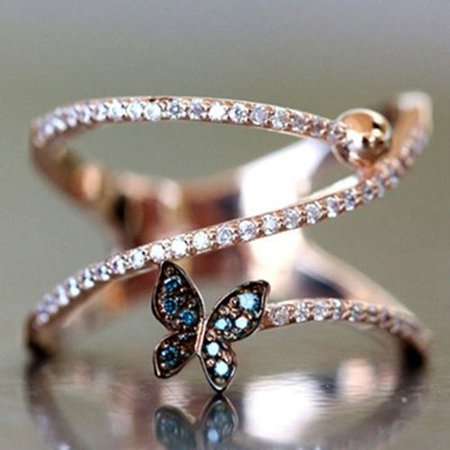 AkoaDa Romantic Rose Gold Butterfly Rings Rhinestone Crystal Twist Knucle Ring Jewelry Gift for Women Girls Crystal Rhinestone Bridal Rings
