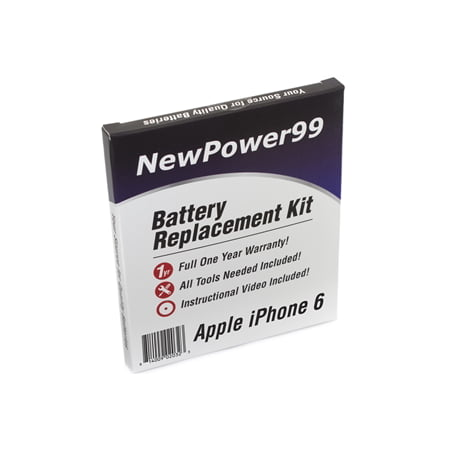 Apple iPhone 6 Battery Replacement Kit with Tools, Video Instructions, Extended Life Battery and Full One Year (Extend Battery Life Blackberry)