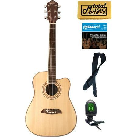 Oscar Schmidt 3/4 Size Acoustic/Electric Guitar, 4 Band EQ, Natural, Bundle OG1CE PACK