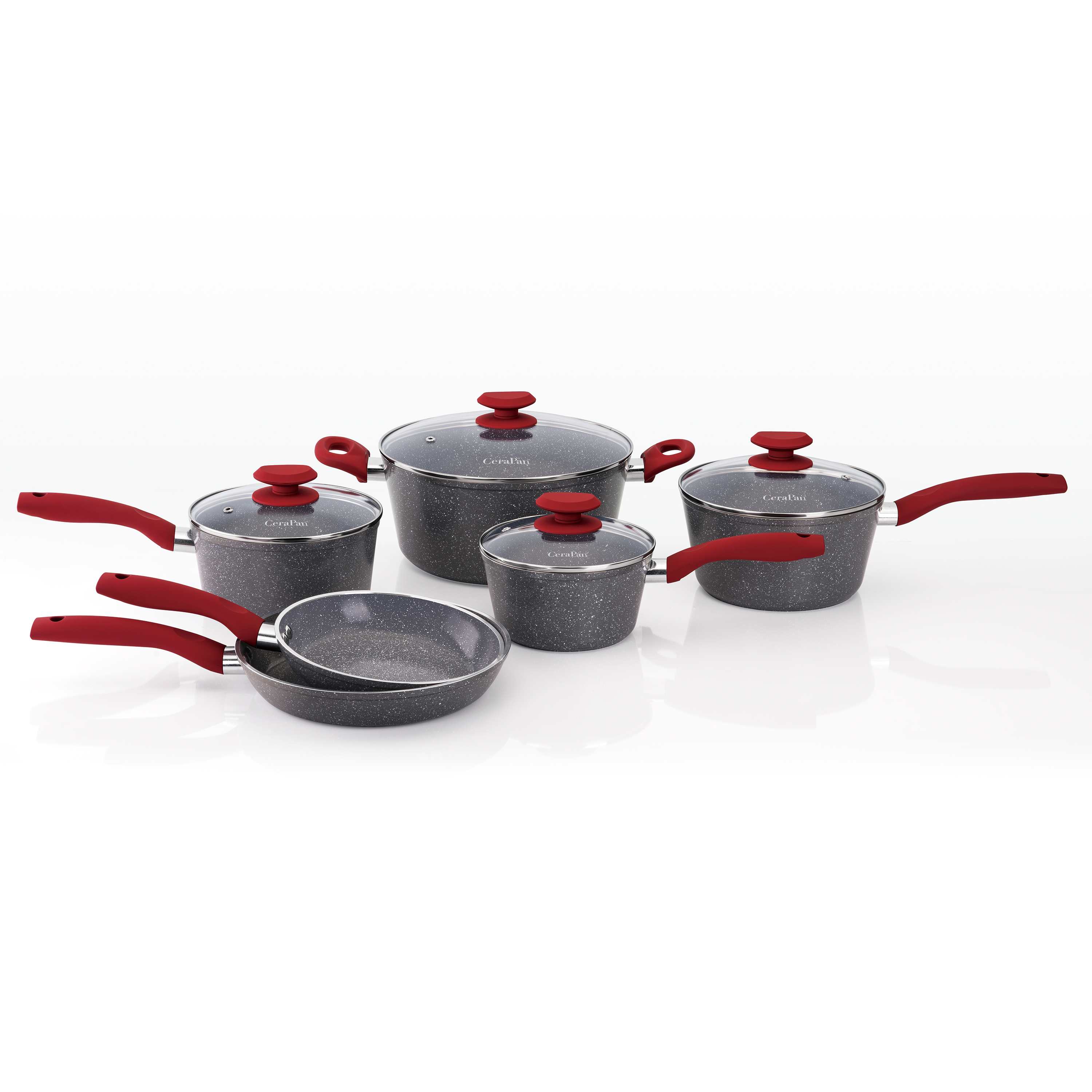Mainstays Marble Hill Ceramic Non-stick 10-piece Cookware Set, Gray