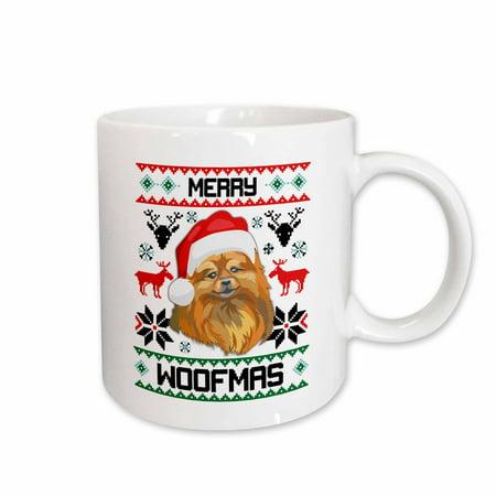 3dRose Merry Woofmas Small Pomeranian Dog Christmas Gift - Ceramic Mug, - Pomeranian Gifts