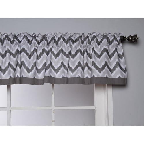"""Bacati Ikat Zigzag Valance 15""""x54"""" 100% Cotton Percale Fabrics, Grey by Bacati"""