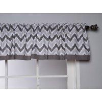 "Bacati - Ikat Zigzag Valance 15""x54"" 100% Cotton Percale Fabrics, Grey"