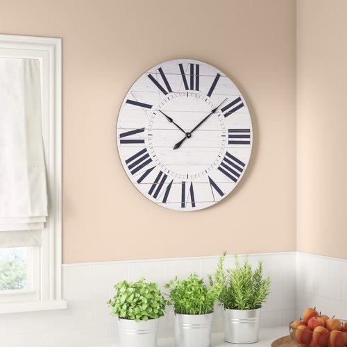 Gracie Oaks Oversized Katie French Country with Shiplap Face 23'' Wall Clock