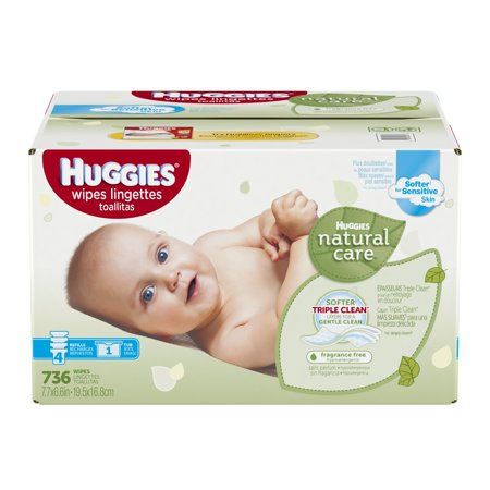 Huggies Natural Care Baby Wipes, Tub, Unscented, 736 Ct
