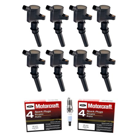 Dynatek Ignition Coil (Set of 8 ISA Ignition Coils & Motorcraft Spark Plugs SP413 For 2000-2010 Ford F-150 4.6L V8 Compatible with DG508 SP413 )