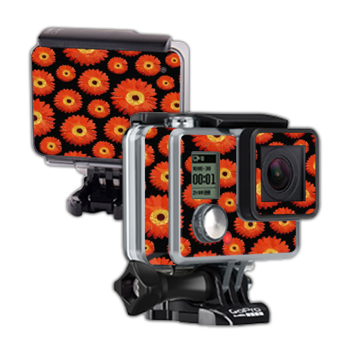Mightyskins Protective Vinyl Skin Decal Cover for GoPro Hero Camera Digital Camcorder wrap sticker skins Orange Flowers