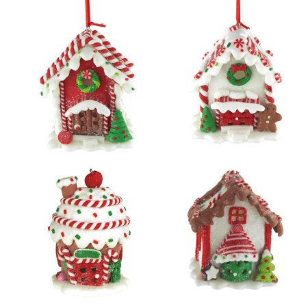 Hanging LED Gingerbread House Christmas Tree Ornament with Glitter, 3-Inch, 4-Piece - Walmart.com