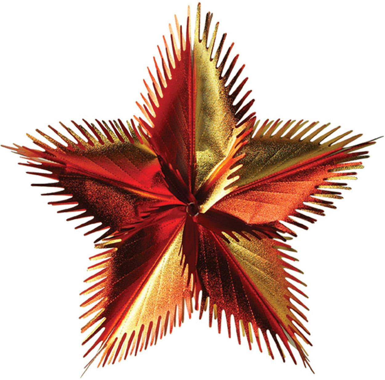 "24"" Green Orange Red Star Leaf Burst Wall Ceiling Hangers Danglers Decoration"