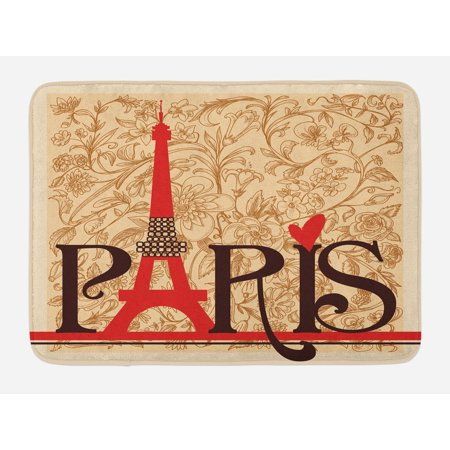 Vintage Bath Mat, Paris Vintage Floral French Eiffel Tower City Holiday Stylish Postcards Gifts, Non-Slip Plush Mat Bathroom Kitchen Laundry Room Decor, 29.5 X 17.5 Inches, Red Brown Ecru, Ambesonne