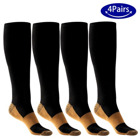 4 Pairs ODOLAND Elastic Compression Socks for Men Women, Non-shedding Moisture-wicking for Running Hiking Cycling