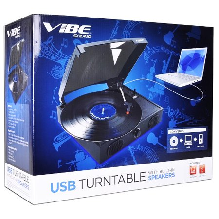 VIBE Sound VS-2002-SPK USB Turntable/Vinyl Archiver Record Player w/Speakers (Record Player Jukebox)