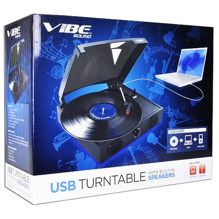 VIBE Sound VS-2002-SPK USB Turntable/Vinyl Archiver Record Player w/Speakers ()